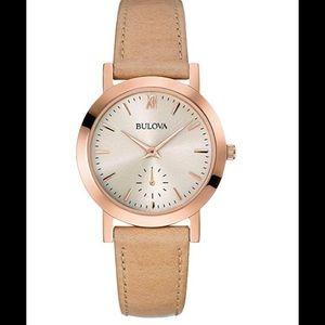 Bulova Women's Beige Leather Watch 32mm 97L146